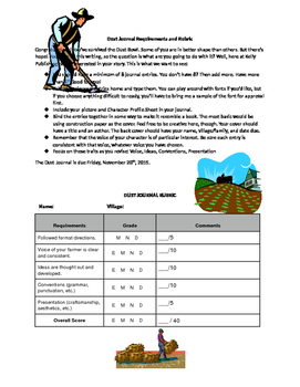 Out of the Dust--Dust Journal Requirements and Rubric
