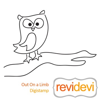 Out on a limb (digital stamp, coloring image) S051, owl on
