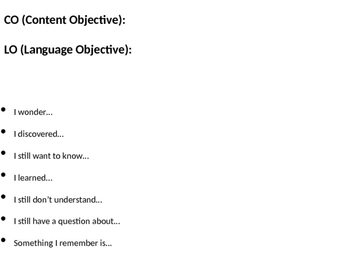 Outcome Sentences/ Objectives in English and Spanish