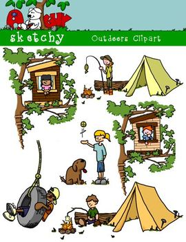 Outdoor / Camping Kids Clipart / Graphics 300dpi Color, Gr