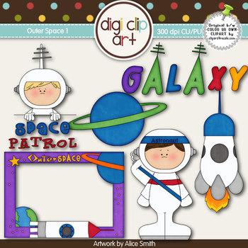 Outer Space 1-  Digi Clip Art - CU Clip Art