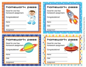 Outer Space Astronaut Homework Passes