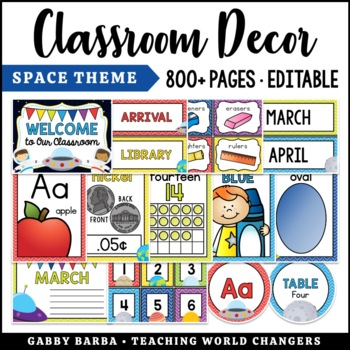 Space Classroom Decor Bundle {500+ pages!}