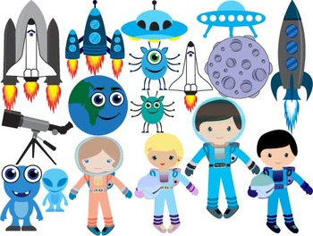 Outer Space Clip Art spaceship planet moon satellite space