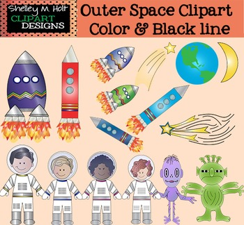 Outer Space Clipart - Astronauts, Rockets, Aliens & More