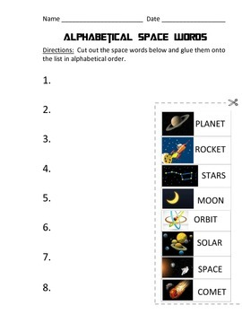 Outer Space Language Arts Worksheets