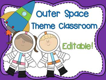 Outer Space Theme Signs, Labels, Binder Covers, and Namepl