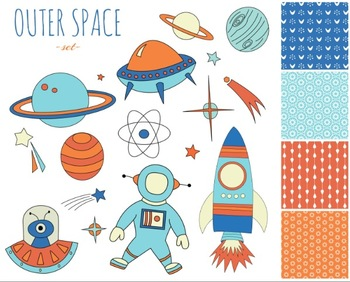 Outer Space and Astronaut Set { Digital Clip Art }
