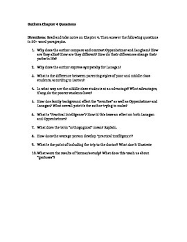 Outliers Chapter 4 Study Questions