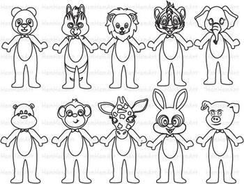 Outline Animals Farm Jungle school Clip Art stamp Coloring