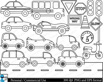 Outline Cars Digital ClipArt Personal, Commercial Use 21 i