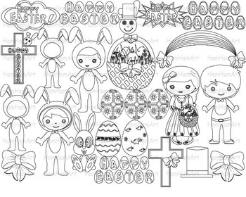 Outline Easter Clip Art PNG school coloring stamp bunny re