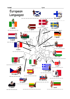 Outline Map with European Languages