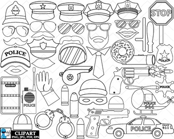 Outline Police Props - Clip Art Digital Files Personal Com
