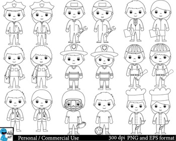 Outline Professions Digital Clip Art Graphics - 18 images cod117
