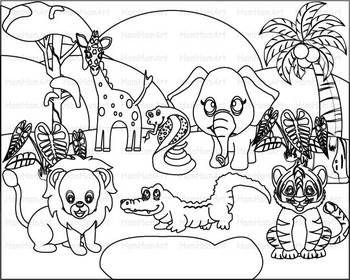 Outline Wild Jungle school Woodland Clip Art zoo line stam