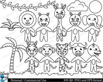 Outline cute safari animals Digital Clip Art Graphics 16 i