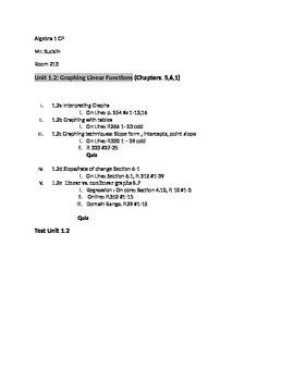 Common Core Algebra 1 Unit 1.2 Outline