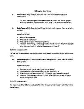 """""""The Ransom of Red Chief"""" Literary Analysis Outline for IE"""