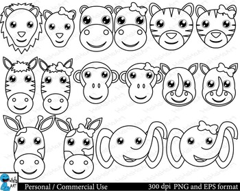 Outline safari animals Digital Clip Art - 16 images cod118