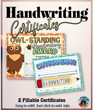 Outstanding Handwriting Certificates - Editable