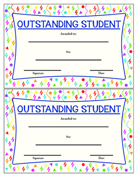 Outstanding Student Award - Colorful Printable