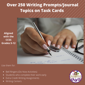 Over 250 Writing Prompts/Journal Topics on Task Cards (All