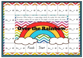 Over the Rainbow - Rainbow Fact (Make Ten) Board Game