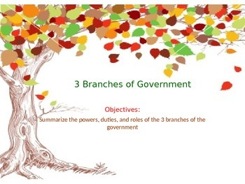 Overview of the 3 Branches of Government PowerPoint