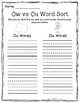 Ow and Ou Diphthong Word Sort