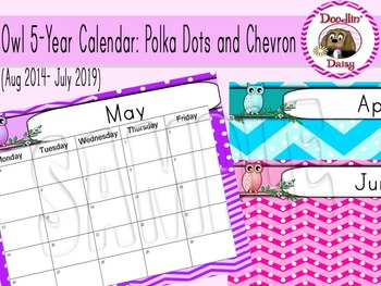 Owl 5-Year Calendar: Polka Dots and Chevron (Aug 2014- July 2019)