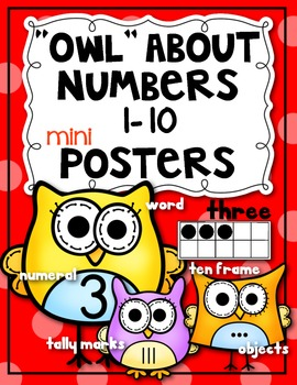 """""""Owl"""" About Numbers {Math Posters 1-10} Kindergarten Common Core"""
