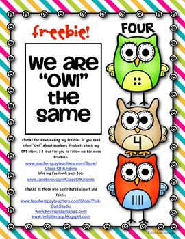 """{FREEBIE} """"Owl"""" About Numbers! Math Work Page"""