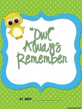 """""""Owl"""" Always Remember End of Year Memory Book"""