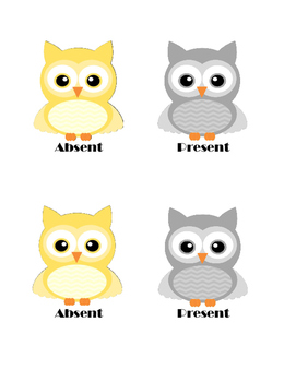 Owl Attendance Cards  in Yellow and Gray
