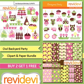 Owl Backyard Birthday Party (3 packs) pink, green lime, yellow