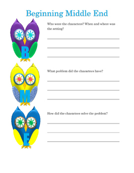 Owl Beginning Middle End Graphic Orginizer