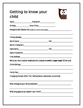 Owl Beginning of the Year Form