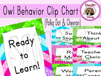 Owl Behavior Clip Chart: Polka Dots & Chevrons