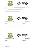 Owl Behavior Sheet