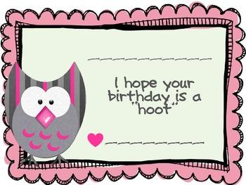 Owl Birthday Certificates