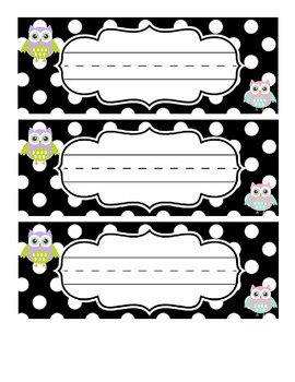 Owl Black and White Polka Dot Table Tags
