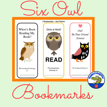 Owl Bookmarks - Set of Six