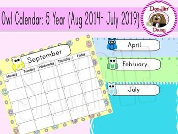 Owl Calendar: 5-Year (Aug 2014- July 2019)