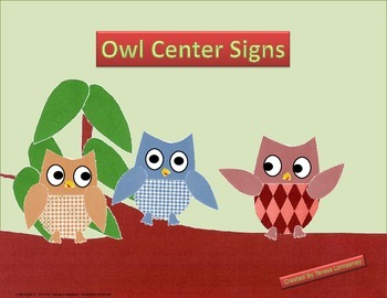 """Owl Center Signs 8.5""""x11"""""""