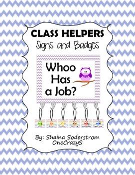 Owl Chevron Classroom Helpers - Classroom Jobs