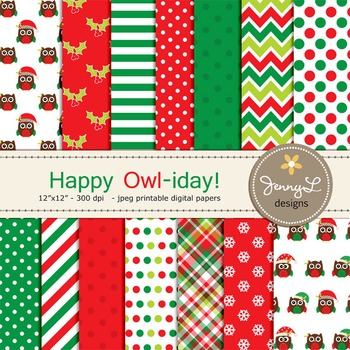 Owl Christmas Digital Paper, Stitched Owl Scrapbooking Pap