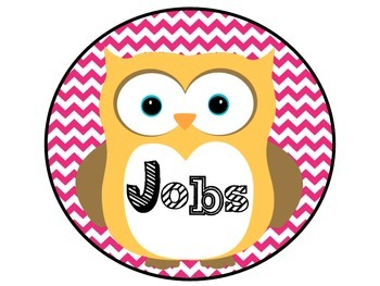 Owl Class Jobs Green and Pink Chevron