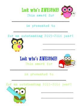 Owl Classroom Award 2015-2016