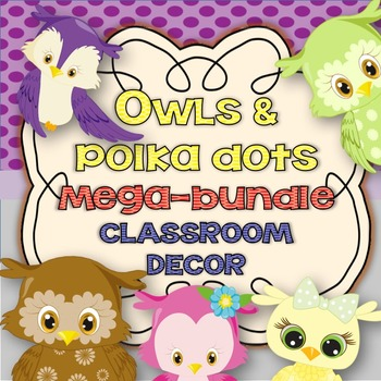 Owl Classroom Decoration kit mega bundle-Editable!